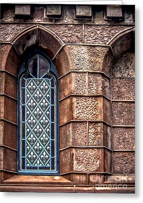 Gunmetal Greeting Cards - Fleur de Lis Window Greeting Card by James Aiken