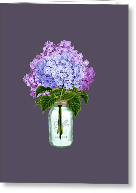 Mason Jars Drawings Greeting Cards - Fleur dhortensia Greeting Card by Anne Kitzman