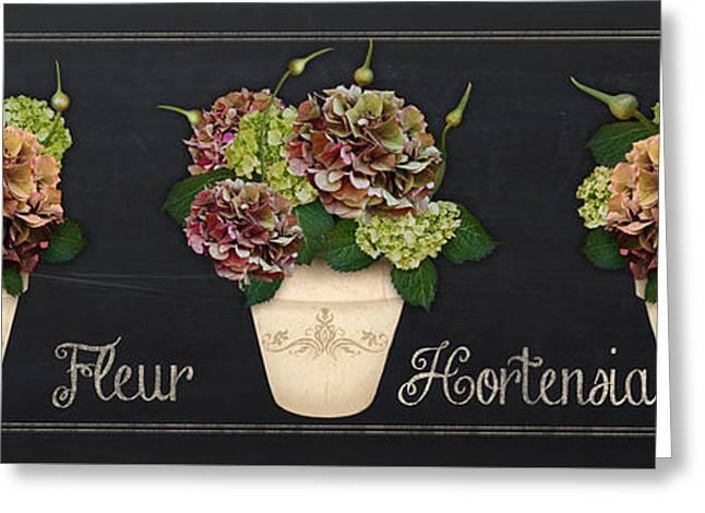 Floral Digital Art Digital Art Greeting Cards - Fleur Hortensia-JP3015 Greeting Card by Jean Plout