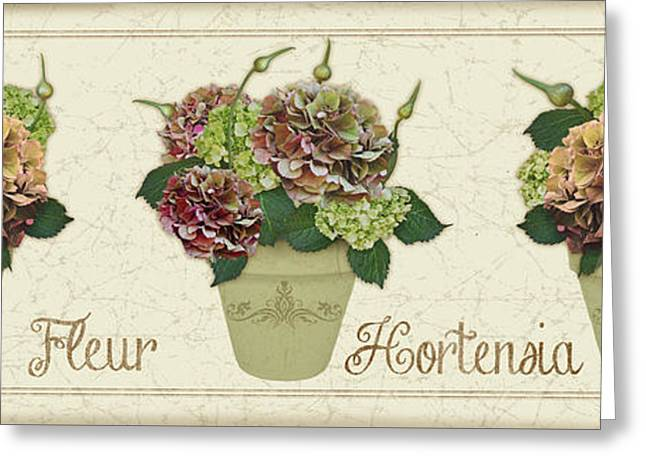 Floral Digital Art Greeting Cards - Fleur Hortensia-JP3016 Greeting Card by Jean Plout