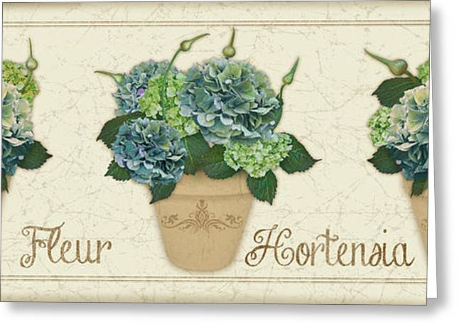 Floral Digital Art Greeting Cards - Fleur Hortensia-JP3017 Greeting Card by Jean Plout