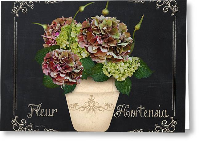 Recently Sold -  - Floral Digital Art Digital Art Greeting Cards - Fleur Hortensia-JP3021 Greeting Card by Jean Plout
