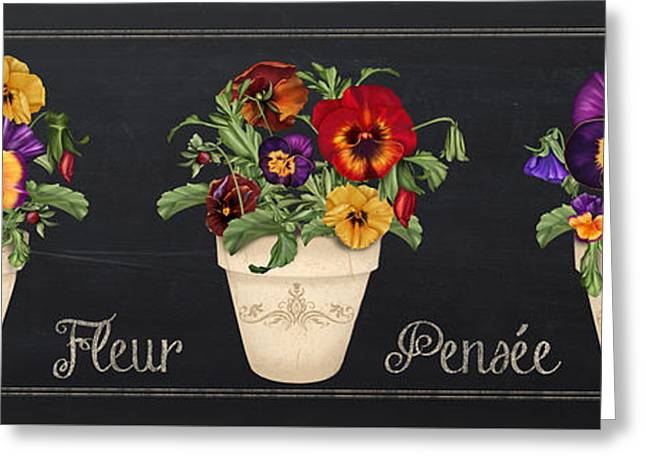 Floral Digital Art Greeting Cards - Fleur Pensee-JP3013 Greeting Card by Jean Plout