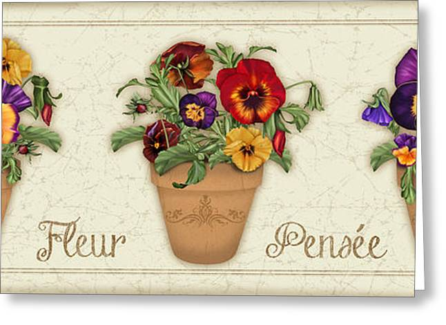 Floral Digital Art Greeting Cards - Fleur Pensee-JP3014 Greeting Card by Jean Plout
