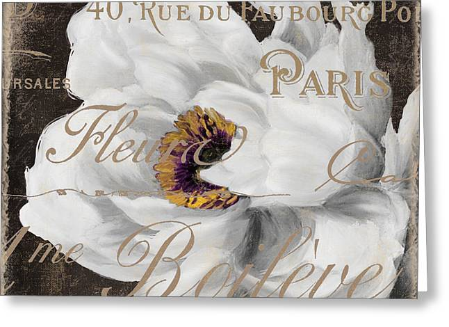 White Paintings Greeting Cards - Fleurs Blanc Greeting Card by Mindy Sommers