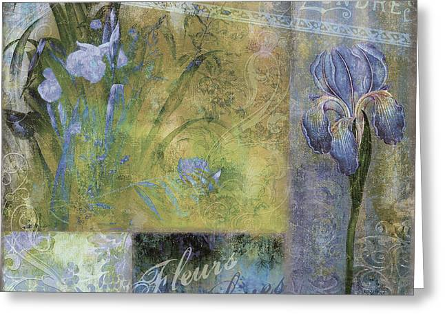 Fleurs Bleues I Greeting Card by Mindy Sommers