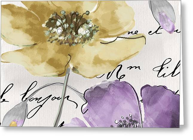 French Handwriting Greeting Cards - Fleurs de France II Greeting Card by Mindy Sommers