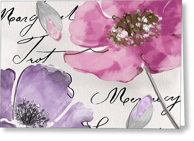 French Handwriting Greeting Cards - Fleurs de France III Greeting Card by Mindy Sommers