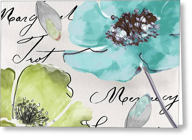 French Handwriting Greeting Cards - Fleurs de France  Greeting Card by Mindy Sommers