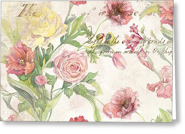 Exquisite Greeting Cards - Fleurs de Pivoine - Watercolor in a French Vintage Wallpaper Style Greeting Card by Audrey Jeanne Roberts