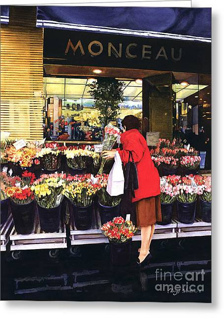 French Flower Shop Greeting Cards - Fleurs Monceau Greeting Card by Cheryl Wooten