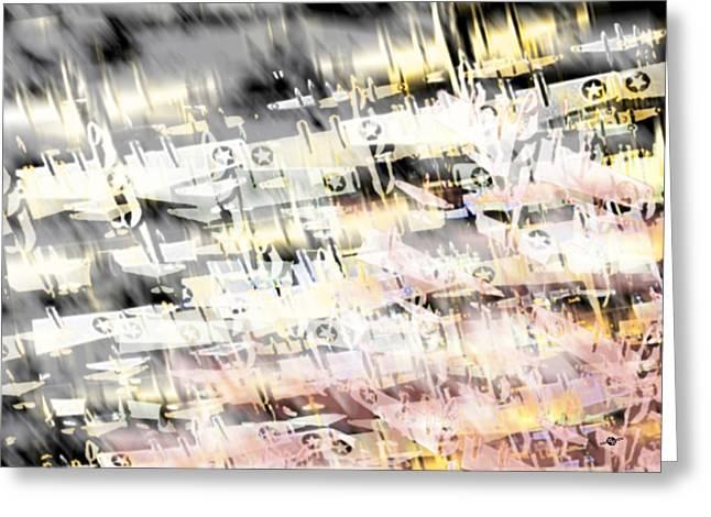 Fleeting Mixed Media Greeting Cards - Flight Abstract Horizontal Greeting Card by Tony Rubino