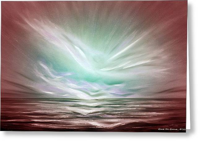 Sunset Posters Greeting Cards - Flight at Sunset - Abstract Sunset Greeting Card by Gina De Gorna