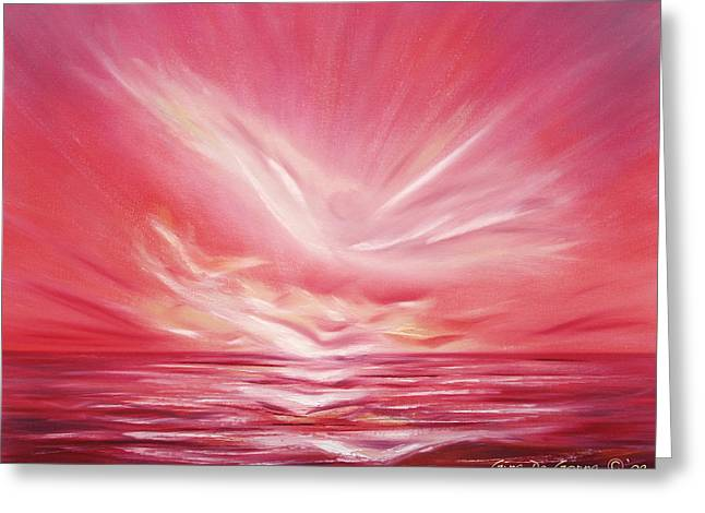 Greeting Cards - Flight at Sunset Greeting Card by Gina De Gorna
