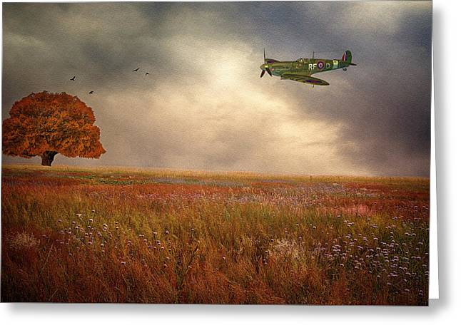 Spitfire Greeting Cards - Flight before the storm Greeting Card by Sharon Lisa Clarke
