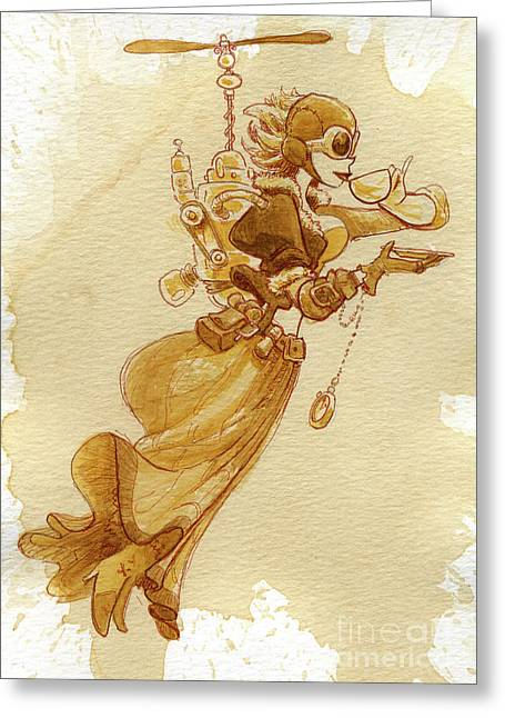 Steampunk Greeting Cards - Flight Greeting Card by Brian Kesinger
