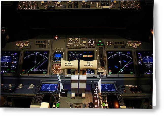 737 Greeting Cards - Flight deck. Greeting Card by Fernando Barozza