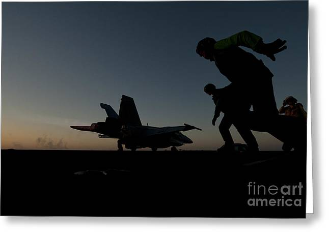 Flight Deck Greeting Cards - Flight deck personnel launch a jet. Greeting Card by Celestial Images