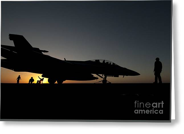 Flight Deck Greeting Cards - Flight deck personnel prepare to launch a jet Greeting Card by Celestial Images