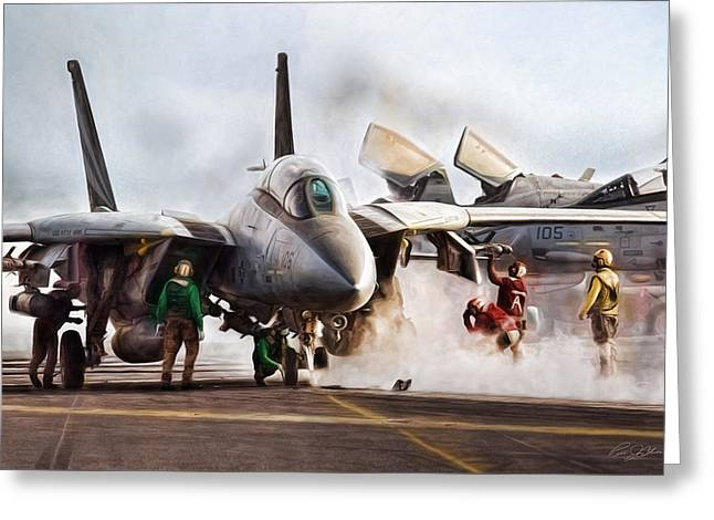 Carrier Digital Greeting Cards - Flight Deck Greeting Card by Peter Chilelli