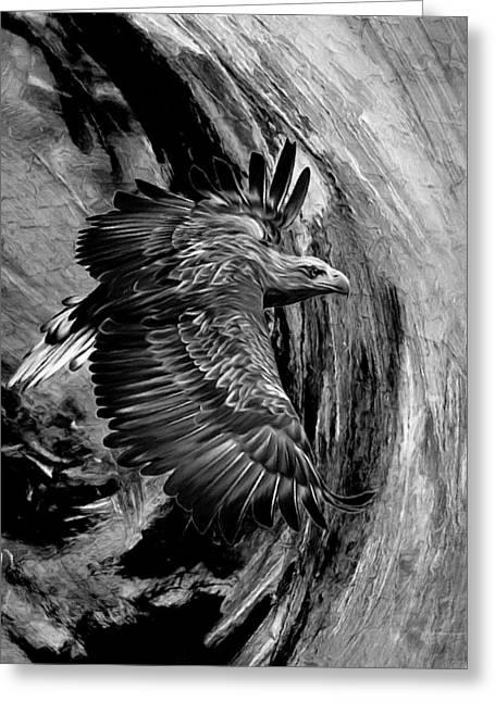 Flight For Freedom Black And White Greeting Card by Georgiana Romanovna