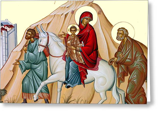 Orthodox Paintings Greeting Cards - Flight into Egypt Painting at Shepherds Field Greeting Card by Munir Alawi