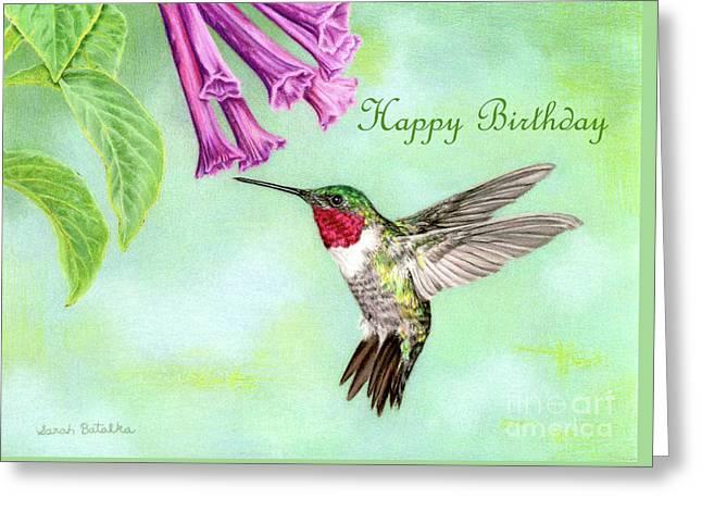 Flight Of Fancy- Happy Birthday Card Greeting Card by Sarah Batalka