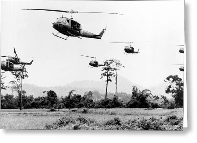 Flight Of Uh-1 Troopships Greeting Card by Underwood Archives