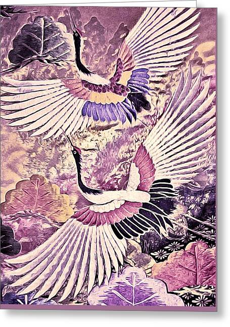 Flying Orchid Greeting Cards - Flight of Lovers - Kimono Series Greeting Card by Susan Maxwell Schmidt