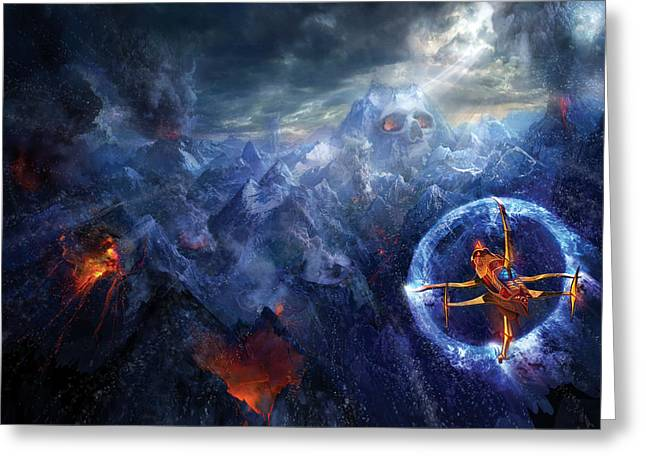 Spaceships Greeting Cards - Flight of the Dying Sun Greeting Card by Philip Straub