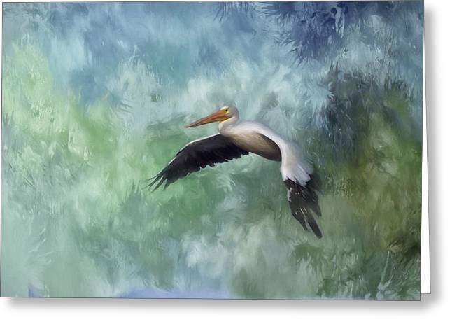 Flight Of The White Pelican Greeting Card by Kim Hojnacki