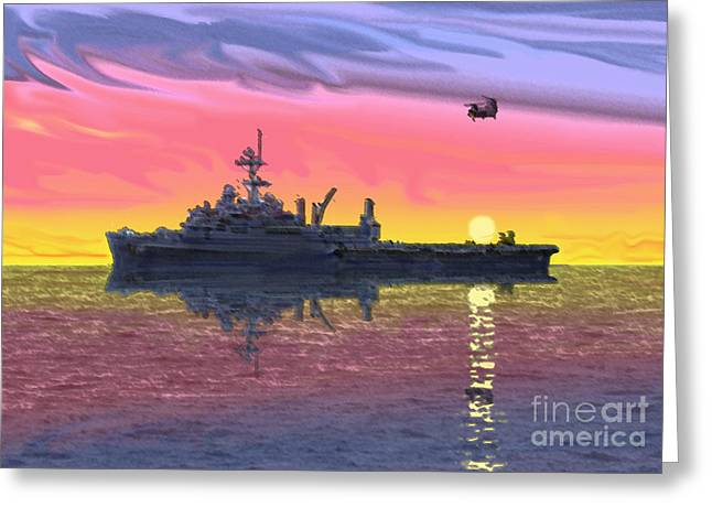 Op Greeting Cards - Flight Ops at Sunset Greeting Card by Donald Maier