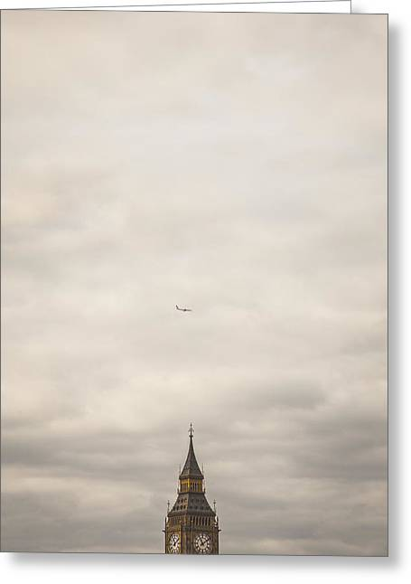 Passenger Airplanes Greeting Cards - Flight Over Big Ben Greeting Card by Paul Green