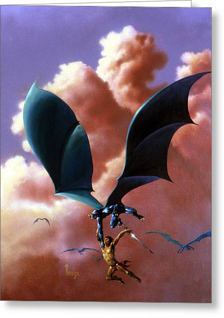 Flight Greeting Card by Richard Hescox