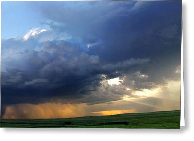 Thunderstorm Greeting Cards - Flint Hills Storm Panorama 2 Greeting Card by Eric Benjamin
