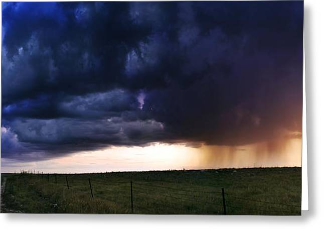 Storm Chasing Greeting Cards - Flint Hills Storm Panorama  Greeting Card by Eric Benjamin