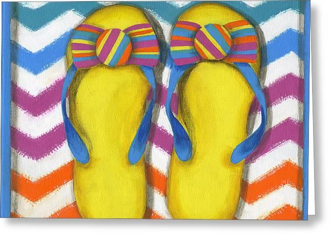 Beach Towel Greeting Cards - Flip Flops 2 Greeting Card by Debbie Brown