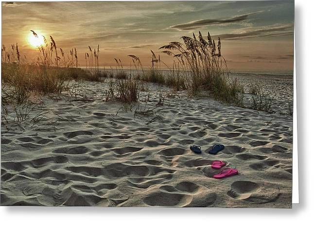 Alabama Crimson Tide Greeting Cards - Flipflops on the Beach Greeting Card by Michael Thomas