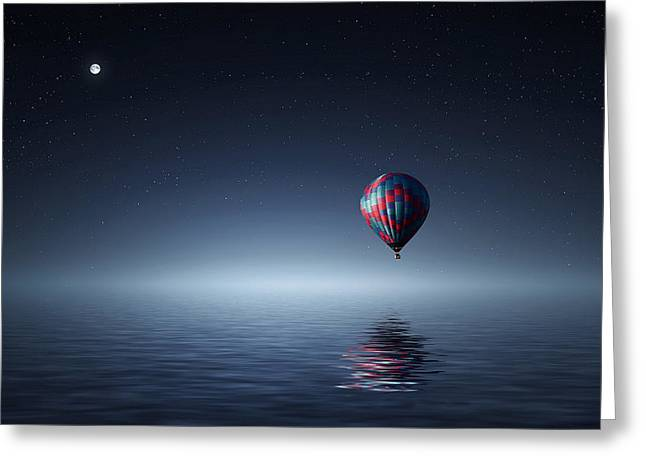 Sea Moon Full Moon Greeting Cards - Floating Among The Stars Greeting Card by Bess Hamiti