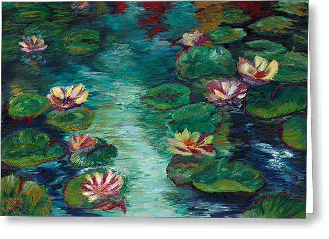 Short Brush Strokes Greeting Cards - Floating Beauty Greeting Card by Desiree Roush