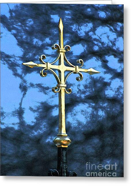 Religious Mixed Media Greeting Cards - Gold Cross Reflections Art Print Greeting Card by ArtyZen Studios
