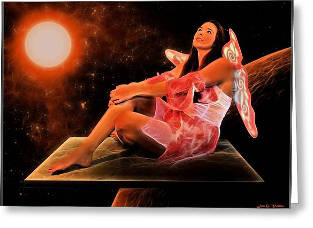 Floating Girl Greeting Cards - Floating Fairy  Greeting Card by Jon Volden