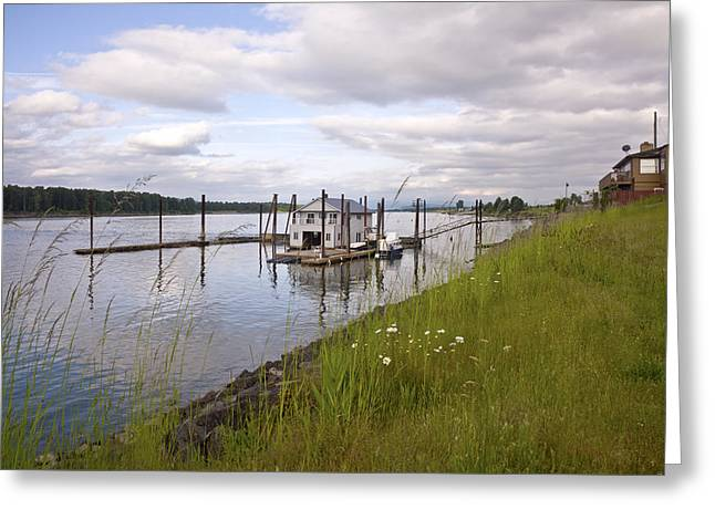 Floating House On The Columbia River Oregon. Greeting Card by Gino Rigucci
