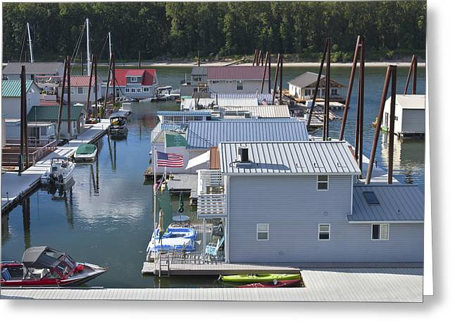 Lawn Chair Greeting Cards - Floating houses residing on the Columbia River. Greeting Card by Gino Rigucci
