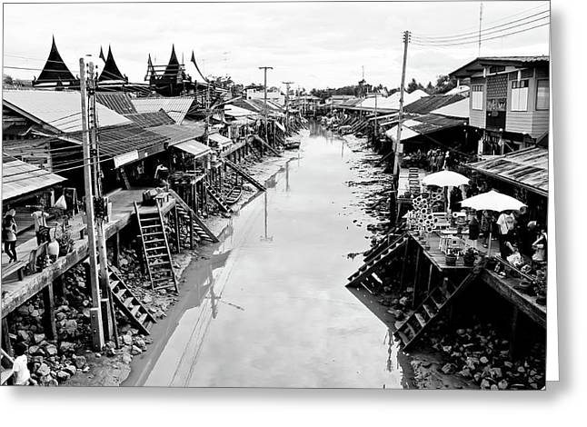 Floating Market In Thailand Greeting Card by Sarayut Mathavetchathum