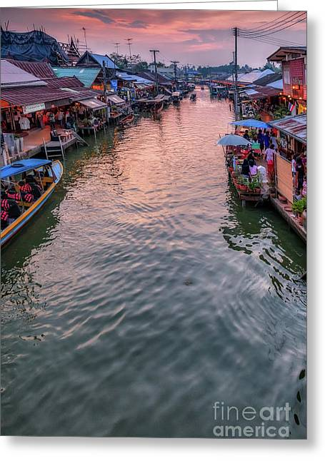 Floating Market Sunset Greeting Card by Adrian Evans