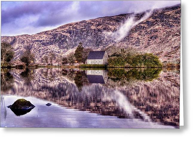 Recently Sold -  - Gougane Barra Church Greeting Cards - Floating Mirror Greeting Card by Joe Ormonde