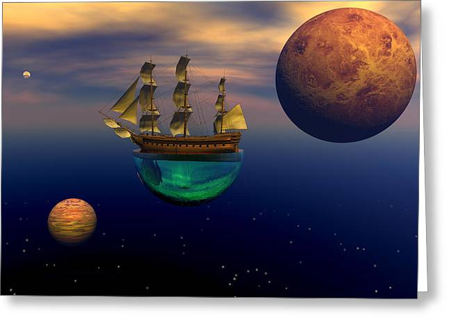 Sailing Ship Greeting Cards - Floating on a dream Greeting Card by Claude McCoy