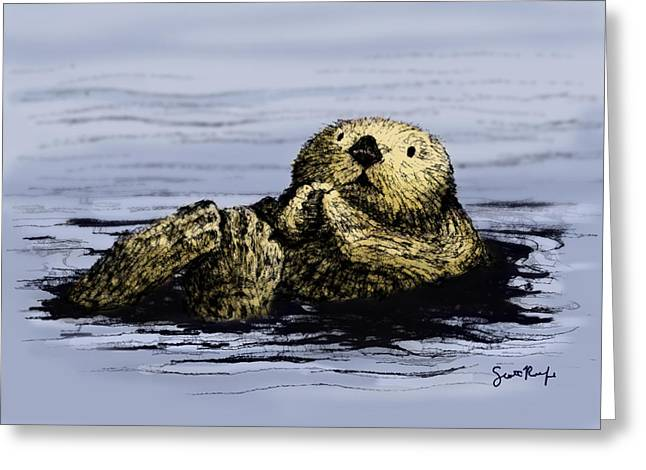 Floating Otter Greeting Card by Scott Rolfe