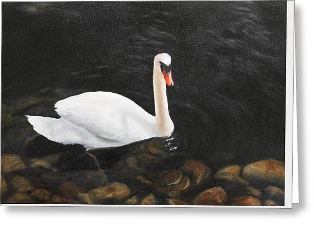 White Paintings Greeting Cards - Floating Peacefully  Greeting Card by Susan Bartolacci